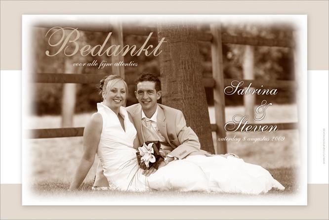 Bedankingskaartje huwelijk