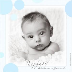 Bedankingskaartje voor de babyborrel.