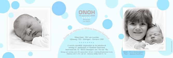 Geboortekaartje van Onoh