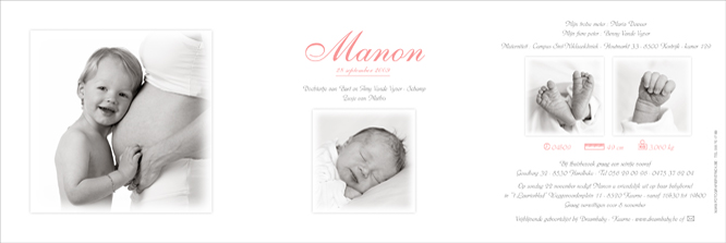 Manon's geboortekaartje met foto