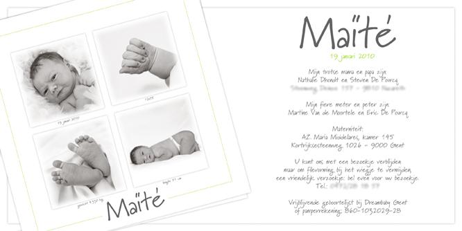Proficiat, Maïté zag vandaag het levenslicht!