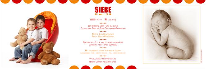 geboortekaartje met foto Siebe