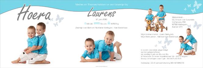 geboortekaartje met foto van Laurens