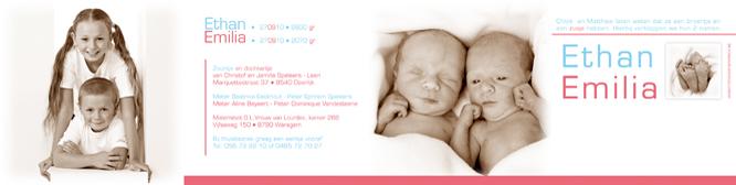 Geboortekaartje met foto van een tweeling