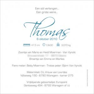 Geboortekaartje van Thomas