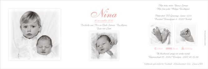 Nina met grote broer op haar geboortekaartje