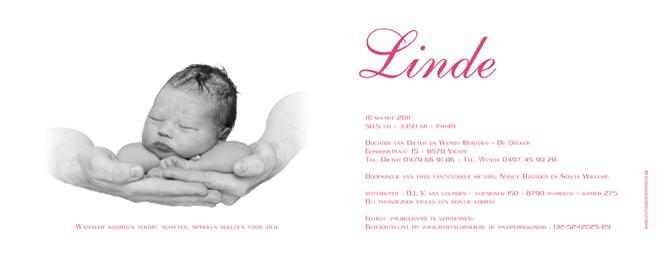 Geboortekaartje van Linde