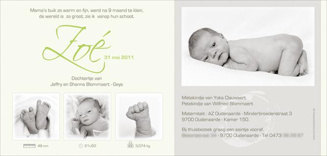 Geboortekaartje van Zoé