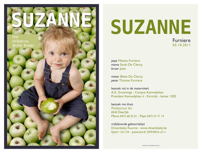 Geboortekaartje Suzanne