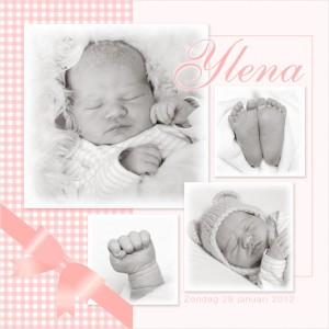 geboortekaartje met foto van Ylena