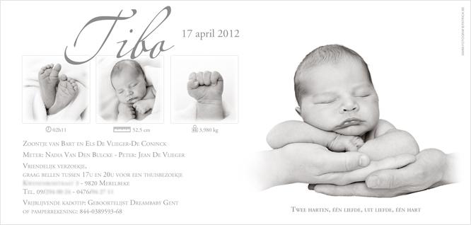 Geboortekaartje met foto van Tibo