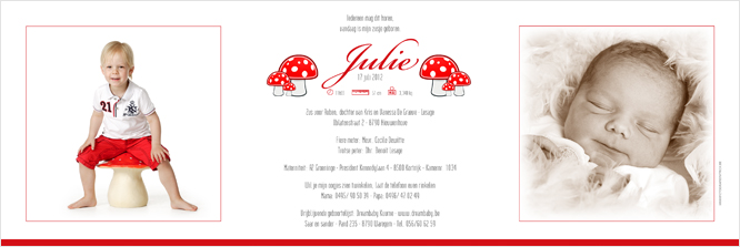 Geboortekaartje van Julie