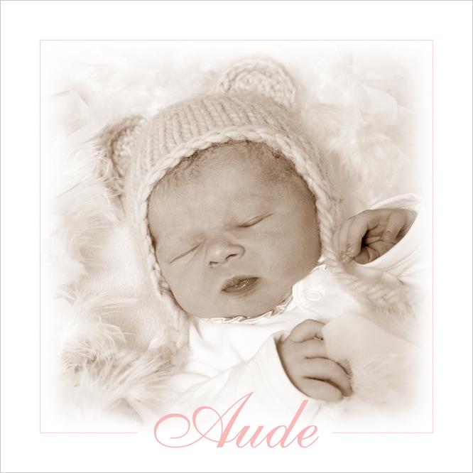Geboortekaartje met foto van Aude