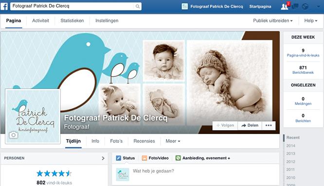 Facebookpagina van fotograaf Patrick De Clercq